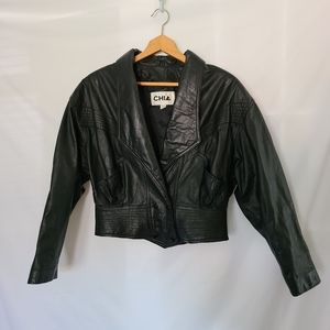 Chia Vintage Black Leather Cropped Jacket Blazer